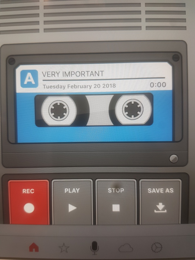 cassette tape recorder. Label on tape reads 'VERY IMPORTANT""