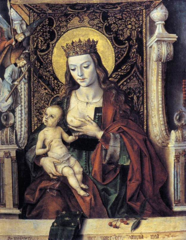 Traditional painting of Our Lady breastfeeding (or trying to)
